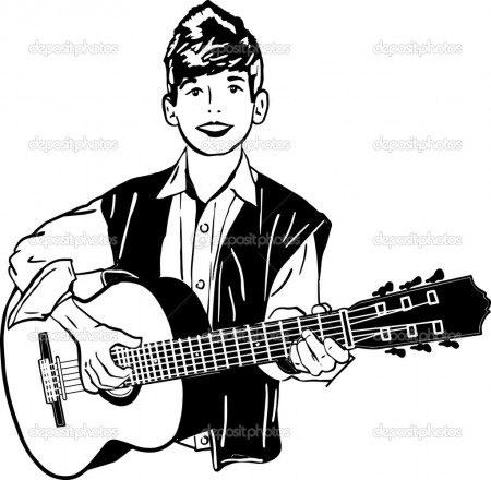 boy playing a guitar